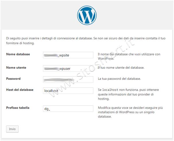 WordPress Dati Sito