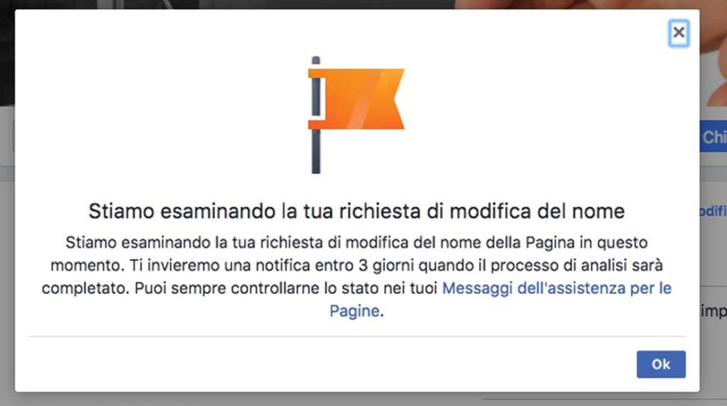 cambiare il nome di una pagina facebook fase 4